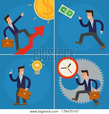 Vector concept cartoon character illustrations businessman running against time, running on up arrow, climbs a ladder of sucsess and having a new idea