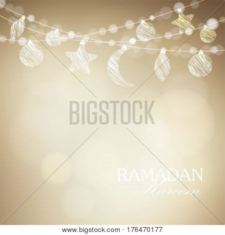 String with ornamental moon and bokeh lights. Golden festive vector illustration background, card or invitation for Muslim community holy month Ramadan Kareem.