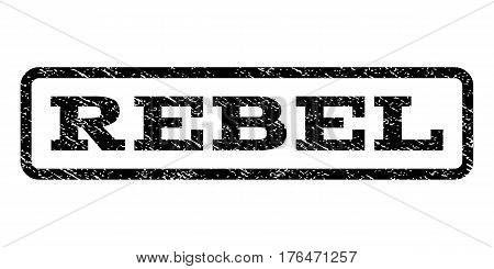 Rebel watermark stamp. Text tag inside rounded rectangle with grunge design style. Rubber seal stamp with unclean texture. Vector black ink imprint on a white background.