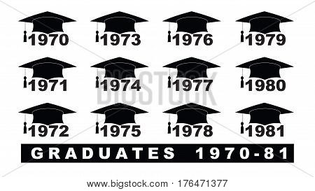 Text With Graduation Hat  1970-1981 Set On A White Illustration