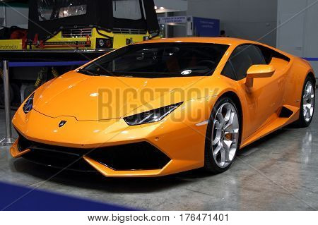 MOSCOW - MARCH 09 2017: Lamborghini Huracan Coupe for 10 International boat show in Moscow. Russia.