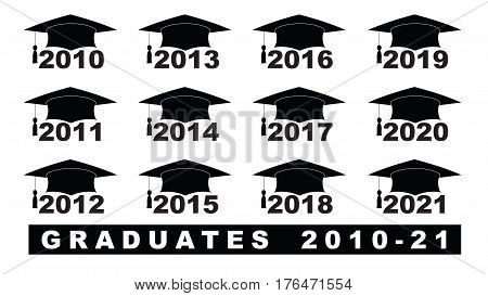 Text With Graduation Hat  2010-2021 Set On A White Illustration