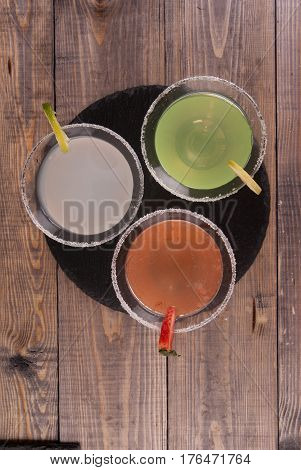 Three Types Of Alcoholic Cocktails With Martini