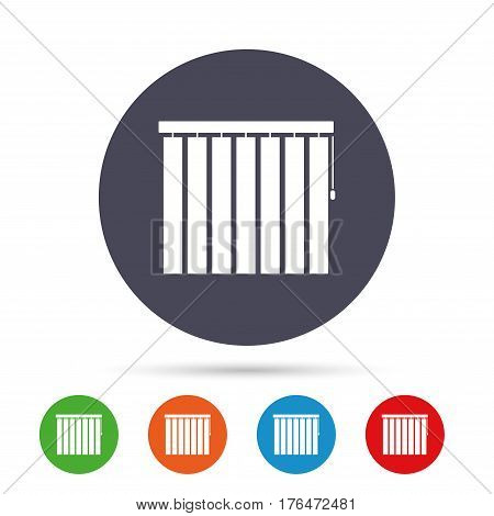 Louvers vertical sign icon. Window blinds or jalousie symbol. Round colourful buttons with flat icons. Vector