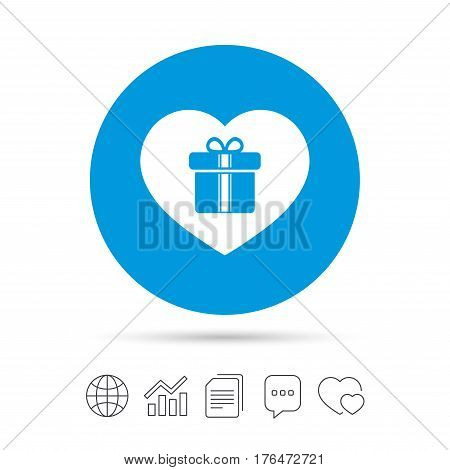 Gift box sign icon. Love Present symbol. Copy files, chat speech bubble and chart web icons. Vector