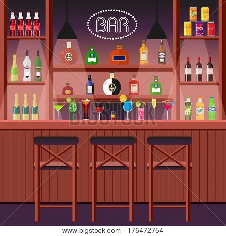 Bar, pub or night club. Bar counter with alcoholic beverages. The interior of an entertainment institution. Vector, illustration in flat style EPS10