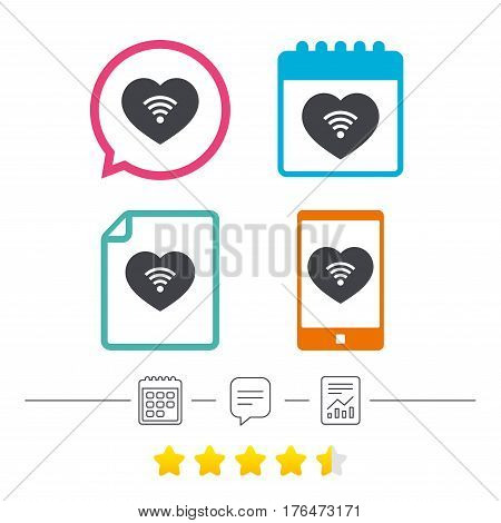 Love Wifi sign. Wi-fi symbol. Wireless Network icon. Wifi zone. Calendar, chat speech bubble and report linear icons. Star vote ranking. Vector
