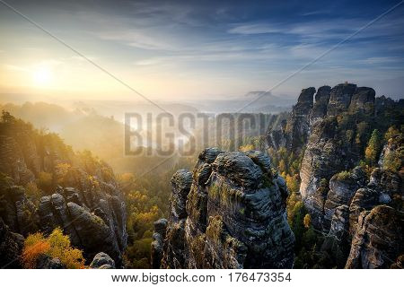 Foggy Sunrise At Bastei, Saxon Switzerland, Germany