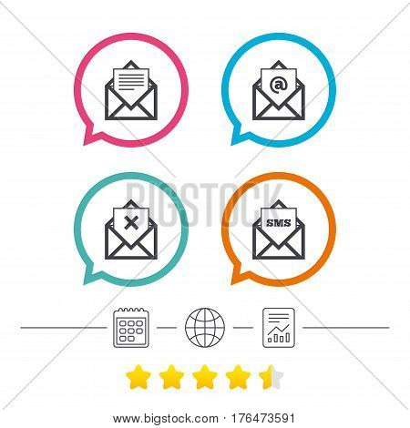 Mail envelope icons. Message document symbols. Post office letter signs. Delete mail and SMS message. Calendar, internet globe and report linear icons. Star vote ranking. Vector