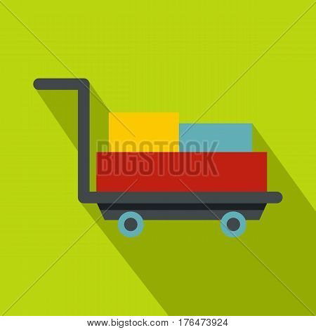 Luggage trolley with suitcases icon. Flat illustration of luggage trolley with suitcases vector icon for web isolated on lime background