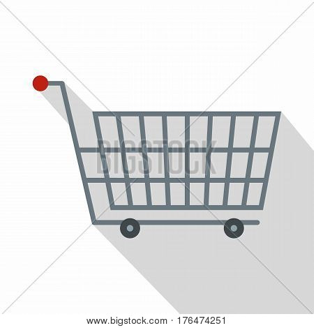 Large metal shopping trolley icon. Flat illustration of large metal shopping trolley vector icon for web isolated on white background