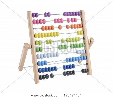 wooden abacus isolated on white a background