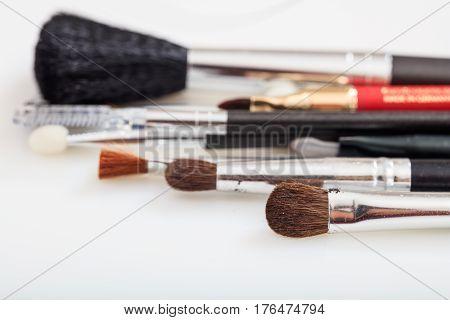 Makeup Brushes Set On White Background