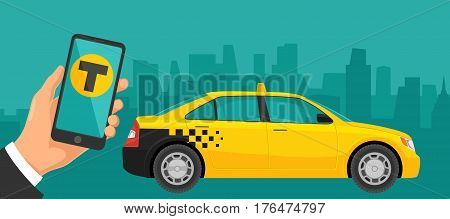 Hand hold phone with interface on a screen booking taxi service. Flat vector illustration. For business, info graphic, banner, presentations, mobile app. Background the panorama city.