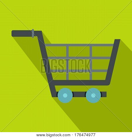 Online shopping icon. Flat illustration of online shopping vector icon for web isolated on lime background