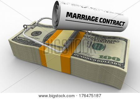 Dangerous marriage contract. Mousetrap from pack of American dollars with bait in form of sheet with text