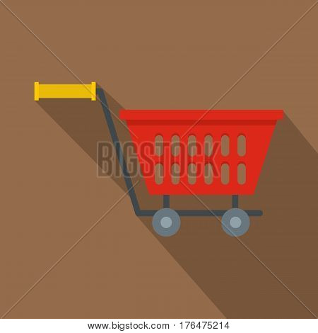 Red plastic shopping basket on wheels icon. Flat illustration of red plastic shopping basket on wheels vector icon for web isolated on coffee background
