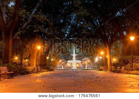 Historic Forsyth Park Fountain Savannah Georgia Us