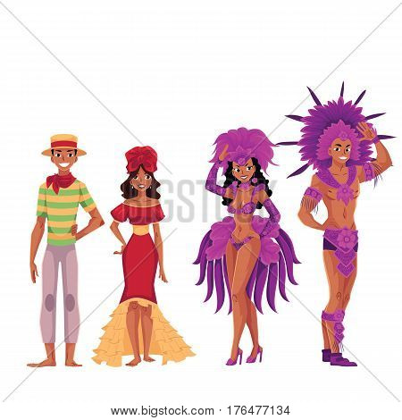 Set of Brazilian people, men and women, in traditional costumes for samba, carnival, cartoon vector illustration isolated on white background. People of Brazil in Brazilian clothes, costumes, dresses