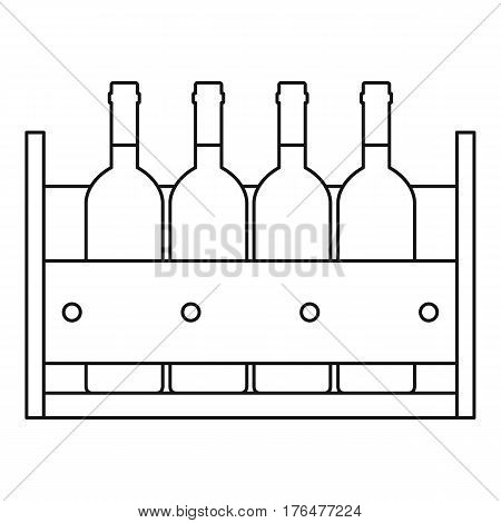 Bottles of wine in a wooden box icon. Outline illustration of Bottles of wine in a wooden box vector icon for web
