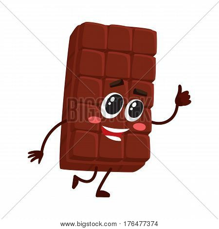Cute chocolate bar character with funny face, giving thumb up, cartoon vector illustration isolated on white background. Funny chocolate character, mascot, emoticon