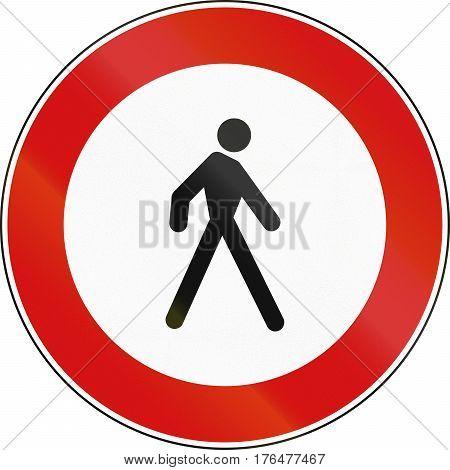 Road Sign Used In Malta - No Pedestrians