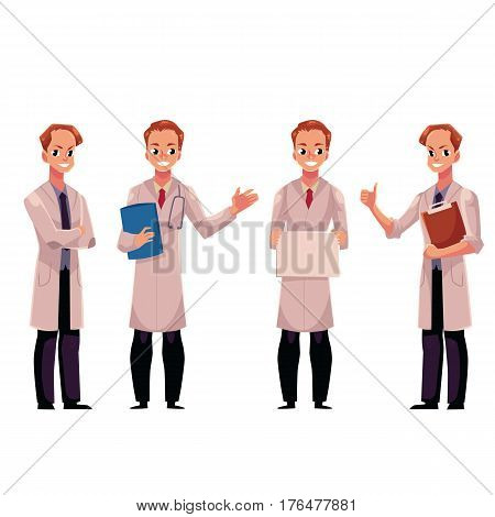 Set of male, man doctors in white medical coats with stethoscope, holding folder, sign, clipboard, cartoon vector illustration isolated on white background. Full length portrait of male, man doctors