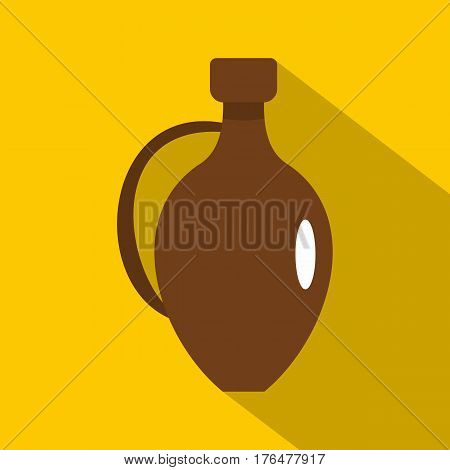 Clay wine jug icon. Flat illustration of clay wine jug vector icon for web isolated on yellow background