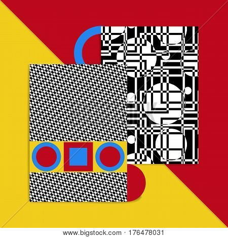 Geometric card vector illustration. Postcard banner cover for ebooks. The Bauhaus Style