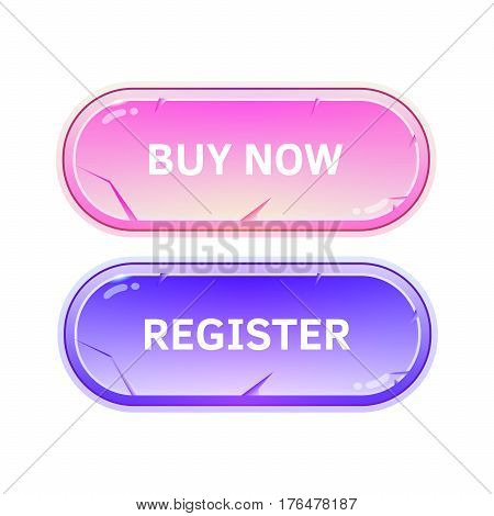 Buttons for sites on a white background. Bright buy buttons and registration.