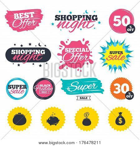 Sale shopping banners. Special offer splash. Wallet with cash coin and piggy bank moneybox symbols. Dollar USD currency sign. Web badges and stickers. Best offer. Vector