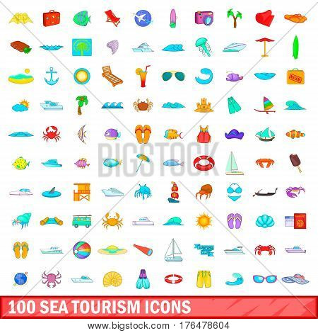100 sea tourism icons set in cartoon style for any design vector illustration