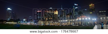 Kuala Lumpur Malaysia - November 3 2014: Panormama of square of Independence and palace of the Sultan Abdul Samad considered one of the most recognizable landmarks of Kuala Lumpur lit up. Today the palace is placed the Supreme Court of Malaysia.