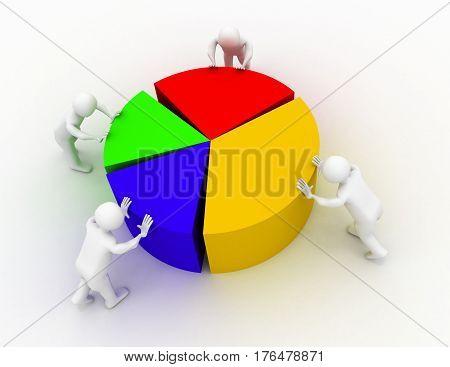chart shift people  . 3d render illustration