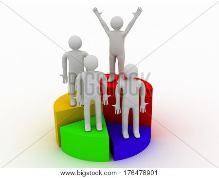 chart victory people . 3d render illustration