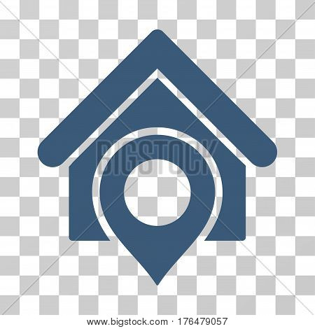 Realty Location icon. Vector illustration style is flat iconic symbol blue color transparent background. Designed for web and software interfaces.
