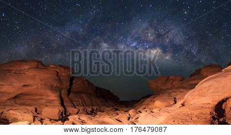 Panorama of milky way at stone mountain / Milky way on the sky / Sam Phan Bok