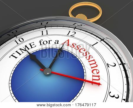 Assessment time red word on concept clock