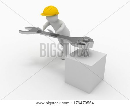 3d man with fork spanner tightening a nut on white background