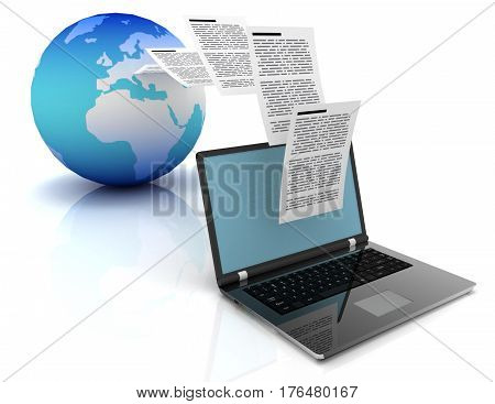 Files transfer between laptops and earth. 3d illustration.