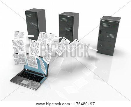 Files transfer between laptops and internet server. 3d illustration.