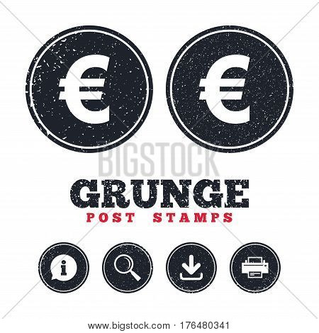 Grunge post stamps. Euro sign icon. EUR currency symbol. Money label. Information, download and printer signs. Aged texture web buttons. Vector