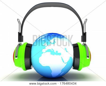 abstract 3d illustration of earth globe and headphones world music