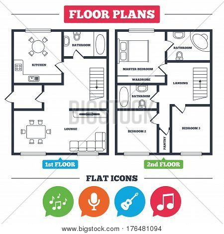 Architecture plan with furniture. House floor plan. Music icons. Microphone karaoke symbol. Music notes and acoustic guitar signs. Kitchen, lounge and bathroom. Vector