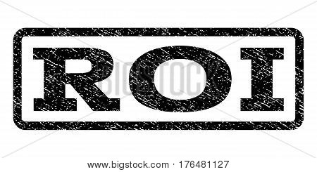Roi watermark stamp. Text tag inside rounded rectangle with grunge design style. Rubber seal stamp with dirty texture. Vector black ink imprint on a white background.