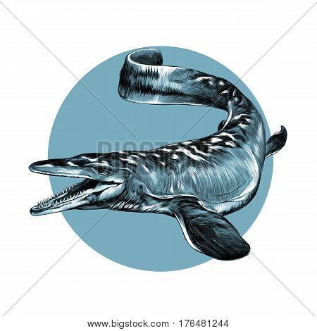 aquatic dinosaur with flippers sketch graphics vector black and white pattern on the background of blue circle