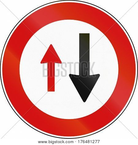 Road Sign Used In Malta - Priority Of Oncoming Traffic