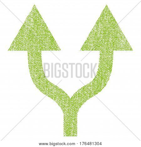 Split Arrows Up vector textured icon for overlay watermark stamps. Fabric light green vectorized texture. Symbol with scratched design. Rubber seal stamp with fiber textile structure.