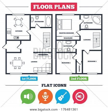 Architecture plan with furniture. House floor plan. Musical elements icons. Microphone and Sound speaker symbols. No Sound and acoustic guitar signs. Kitchen, lounge and bathroom. Vector