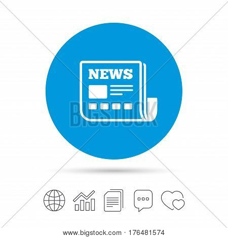 News icon. Newspaper sign. Mass media symbol. Copy files, chat speech bubble and chart web icons. Vector